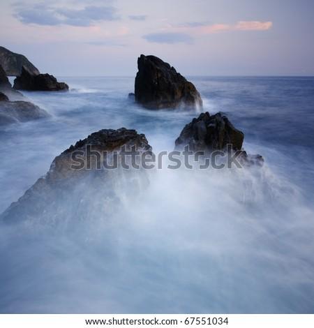 Dramatic seascape in Mediterranean sea