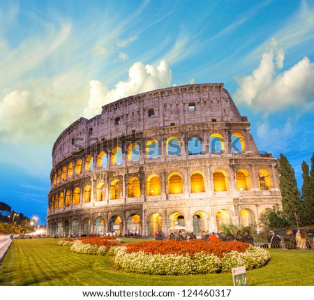 Dramatic sky above Colosseum in Rome. Night view of Flavian Amphitheatre