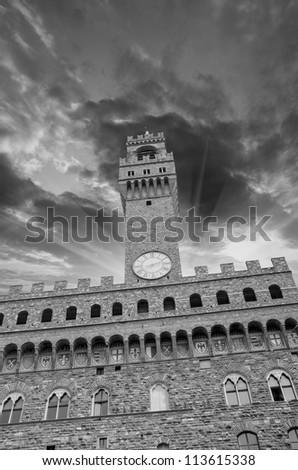 Dramatic Sky above Piazza della Signoria Tower in Florence