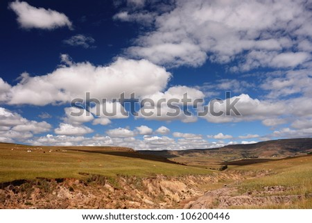Dramatic sky and African countryside view with fields, cows, and erosion