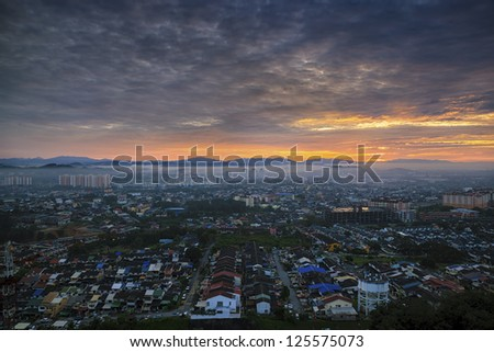 Dramatic sky and amazing view to top view at sunrise