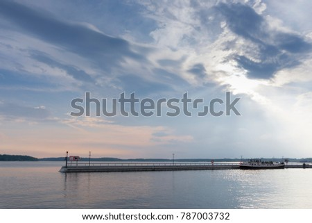 Dramatic sky at the lake Mueritz, Waren,  Mecklenburg-Western Pomerania, Germany, Europe #787003732