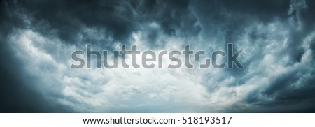 Dramatic Sky Background. Stormy Clouds in Dark Sky. Moody Cloudscape. Panoramic Image Can Be Used as Web Banner or Wide Site Header. Toned and Filtered Photo with Copy Space. #518193517
