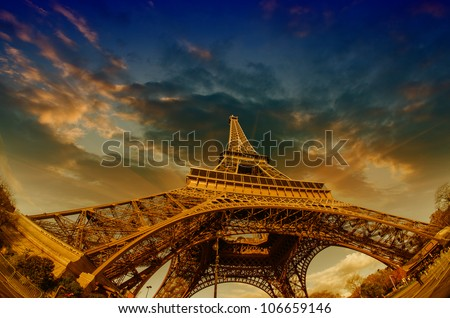 Dramatic Sky Colors above Eiffel Tower in Paris, France
