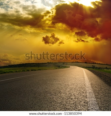 dramatic sky over asphalt road