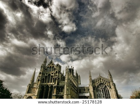 Dramatic sky over Ely Cathedral, Cambridgeshire, England