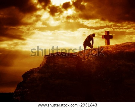 Dramatic sky scenery with a mountain cross and a praying pilgrim.