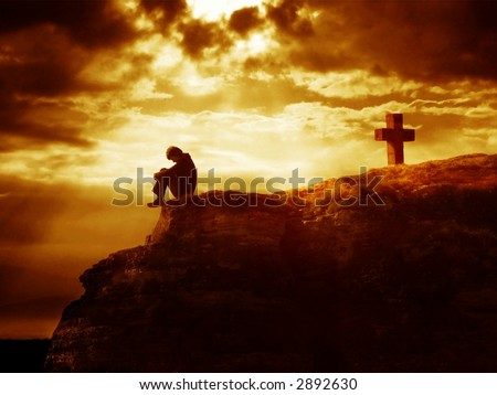 Dramatic sky scenery with a mountain cross and a thinking person. A symbol of heavy inner struggles.