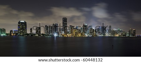 Dramatic skyline view of Miami and Biscayne Bay