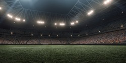 Dramatic soccer stadium in 3D. Professional arena are full of fans.