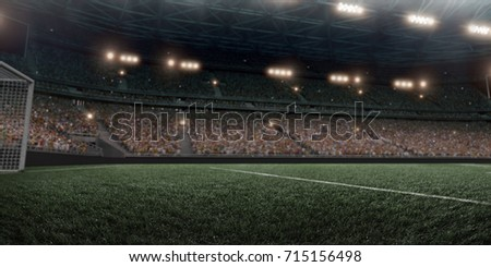 Dramatic soccer stadium in 3D. Professional arena are full of fans. #715156498