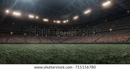 Dramatic soccer stadium in 3D. Professional arena are full of fans. #715156780
