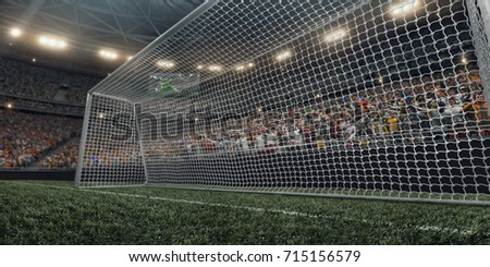 Dramatic soccer stadium with soccer gate in 3D. Professional arena are full of fans. #715156579
