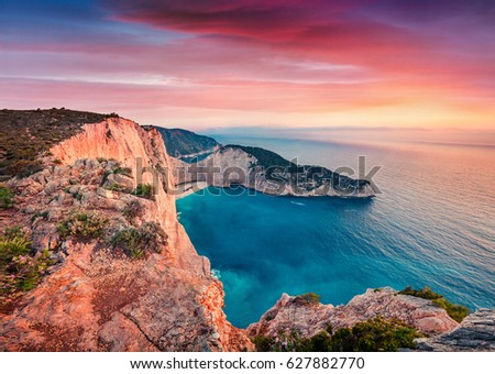 Dramatic spring scene on the Shipwreck Beach. Colorful sunset on the Ionian Sea, Zakynthos island, Greece, Europe. Beauty of nature concept background. Artistic style post processed photo.