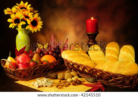 Dramatic still life of beautifully decorated food in autumn season
