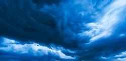 Dramatic storm cloudscape, with strange cloud shapes