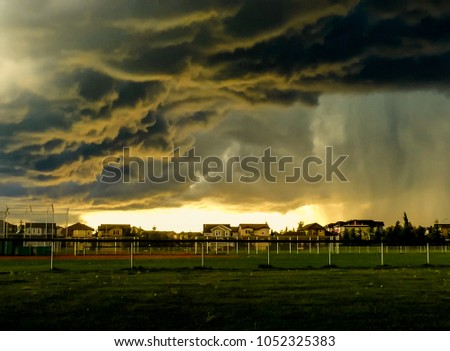 Dramatic summer thunderstorm clouds approaching