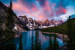 Dramatic Sunrise at Moraine Lake in Banff, Alberta, Canada