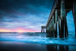 Dramatic Sunrise Beach and Pier, Avalon, New Jersey, USA