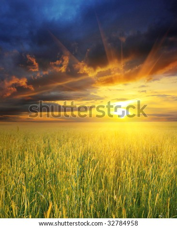 Dramatic sunset #32784958