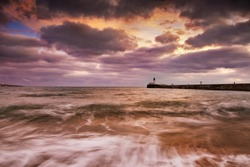 Dramatic sunset and sea at Les Sables d'Olonne in France