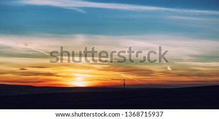 Dramatic sunset and sunrise sky. #1368715937