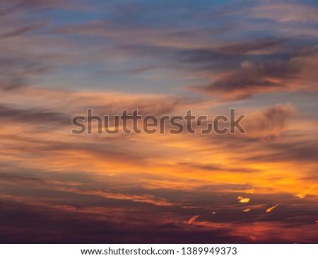 Dramatic sunset and sunrise sky.  #1389949373