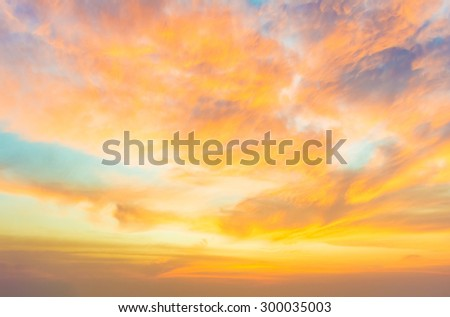 Dramatic sunset and sunrise vivid colorful cloud in sky.