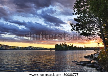 Dramatic sunset at Lake of Two Rivers in Algonquin Park, Ontario, Canada