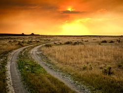 Dramatic sunset at Pawnee National Grassland in Weld County, of northeastern Colorado.