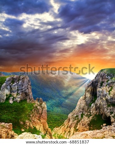dramatic sunset in a mountains