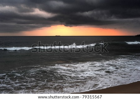 Dramatic sunset in the Indian ocean. Sri Lanka