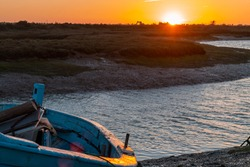 Dramatic sunset in the marshes of Chiclana de la Frontera, Spain