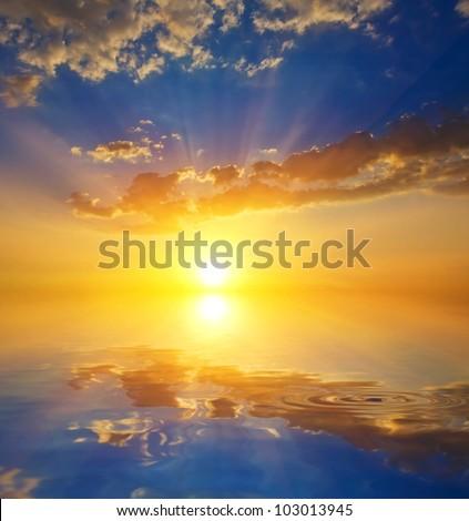 dramatic sunset on a lake