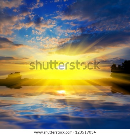 dramatic sunset over a lake