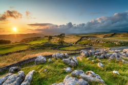 Dramatic sunset over beautiful scenery at the Winskill Stones near Settle in the Yorkshire Dales