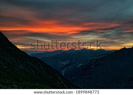 Dramatic sunset over mountain landscape of Vanoise National Park, Alps, Auvergne-Rhône-Alpes, France Photo stock ©