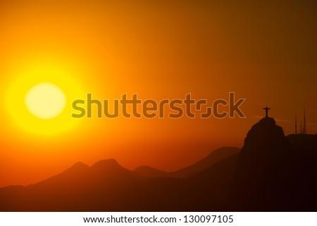 Dramatic Sunset over Rio de Janeiro an Christ the Redeemer