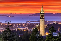 Dramatic Sunset over San Francisco Bay and the Campanile