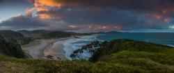 Dramatic sunset scenery, Beach in Northland, New Zealand