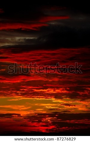Dramatic sunset sky with spectacular clouds