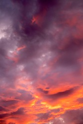Dramatic sunset sky with storm clouds