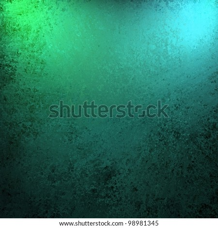 dramatic teal blue green and black color background with old vintage grunge texture and bright spotlight on frame of border for copy space for announcement or invitation design layout