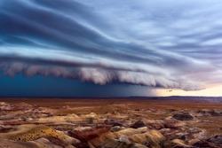 Dramatic thunderstorm shelf cloud