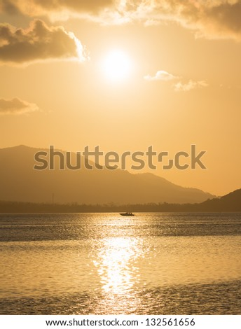Dramatic View at Dusk  over Mountain and Sea on Samui island,Thailand