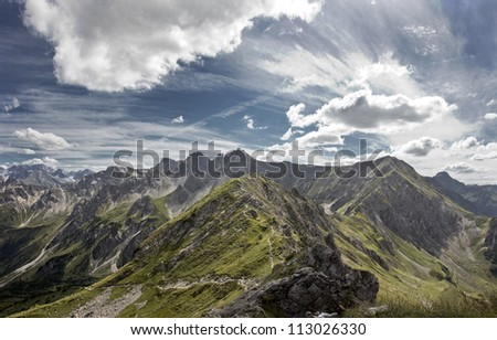 Dramatic view of mountains in summer