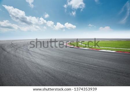 Dramatic view of racing asphalt road. #1374353939