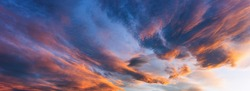 Dramatic view of the dark overcast sunset  sky. Beautiful world.