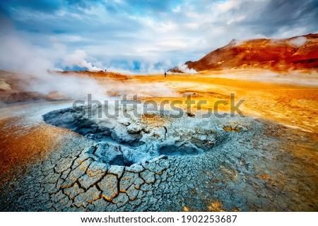 Dramatic view of the geothermal area Hverir (Hverarond). Location place Myvatn lake, Northeastern region, Krafla volcano, Iceland, Europe. Image of exotic world landmark. Discover the beauty of earth.