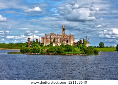 Dramatic view to Lough Key castle river Shannon